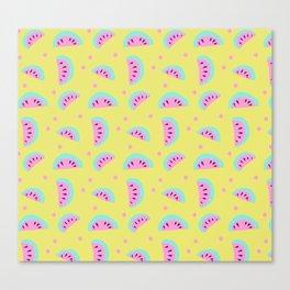Watermelon pattern on yellow Canvas Print