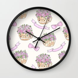 Watercolor . The flowers in the basket . Wall Clock