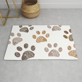 Brown colored paw print background Rug