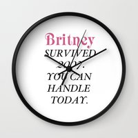 britney Wall Clocks featuring Britney Survived, Britney. by eriicms