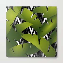 Palm Banana Leaf and Chevron Tropical Green, Black and White Metal Print