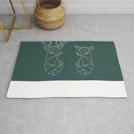 Geometric Stag and Doe (White on Slate) Rug