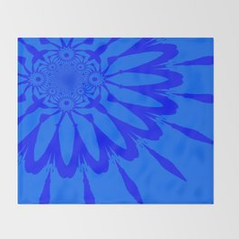The Modern Flower Blue on Blue Throw Blanket