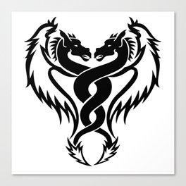 Curled dragons tribal tattoo design Canvas Print
