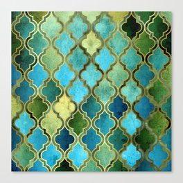 Moroccan Quatrafoil Pattern, Vintage Stained Glass, Blue, Green and Gold Canvas Print