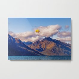 Parasailing on Wakatipu lake, Queenstown, New Zealand Metal Print