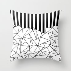 Abstract Outline Stripes Black and White Throw Pillow