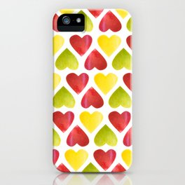 Apple colorful hearts pattern iPhone Case