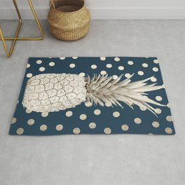 Gold Pineapple Polka Dots 2 Rug