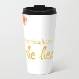 Great Thoughts come from the heart - Gold and flowers Travel Mug