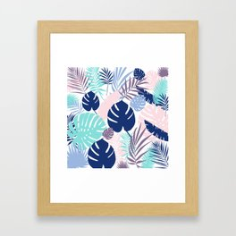 Tropical Leaves Blue Purple Framed Art Print