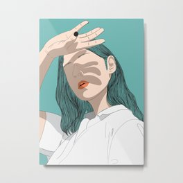 Woman shading her hand Metal Print