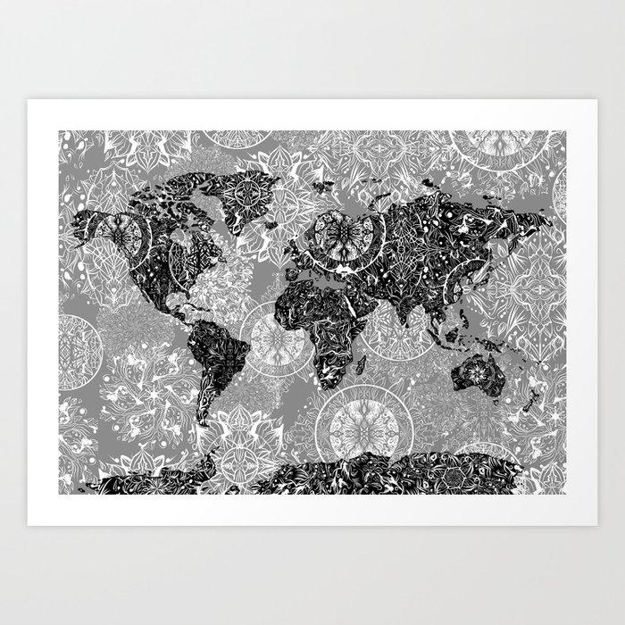 World Map Mandala Black And White 1 Art Print By Bekimart Society6