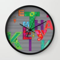 typo Wall Clocks featuring typo by nuage rouge