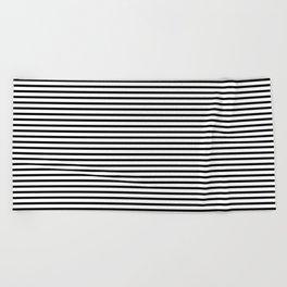 White Black Stripe Minimalist Beach Towel