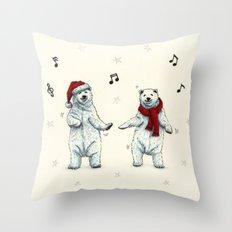 The polar bears wish you a Merry Christmas Throw Pillow