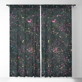 Colorful Neon Splatter on Black Sparkly Background Blackout Curtain