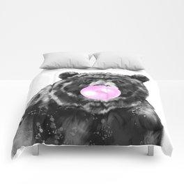 Bubble Gum Big Bear Black and White Comforters