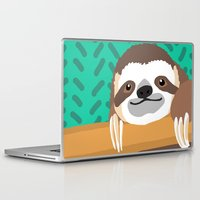 brad pitt Laptop & iPad Skins featuring Brad Sloth by AEle