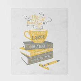 Tea & Books (C.S Lewis) - gray/yellow Throw Blanket