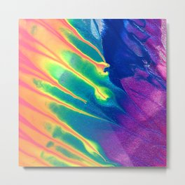 Electric Rainbow Abstract Painting Metal Print