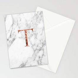 Monogram rose gold marble T Stationery Cards