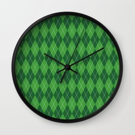 Green Plaid Wall Clock