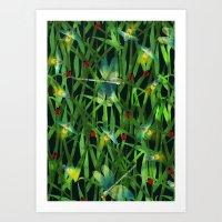 fireflies Art Prints featuring fireflies by kociara