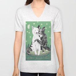 Hugging dogs Unisex V-Neck
