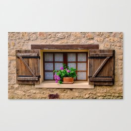 French Window with Potted Plants Canvas Print