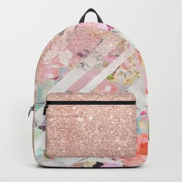 Modern rose gold glitter ombre floral watercolor white marble triangles Backpack
