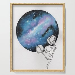 """Cotton Candy Galaxy"" watercolor with pen drawn cotton Serving Tray"