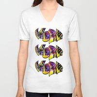 word V-neck T-shirts featuring Word! by irene ein