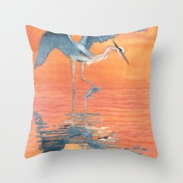 Blue Heron dance Throw Pillow