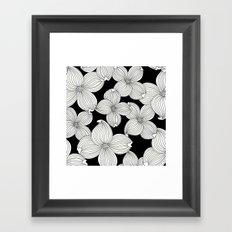 Dogwood Floral Linear: Ivory on Black  Framed Art Print