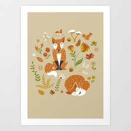 Foxes with Fall Foliage Art Print