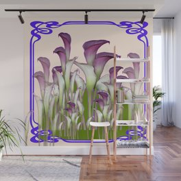 ART NOUVEAU  MAROON CALLA LILIES PURPLE DESIGN Wall Mural