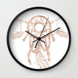 Mandala Rose Gold Pink Dreamcatcher Wall Clock