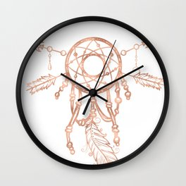 Mandala Rose Gold Pink Dreamcatcher Wall Clock