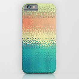 Irregular Abstract Artwork Pattern in Yellow, Orange and Blue iPhone Case
