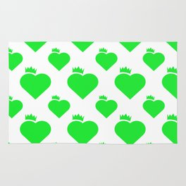 Crown Heart Pattern Green Rug