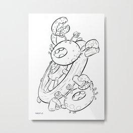 Pirate Ship Wheel - ink Metal Print
