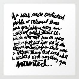 Conversation 100/100 Art Print