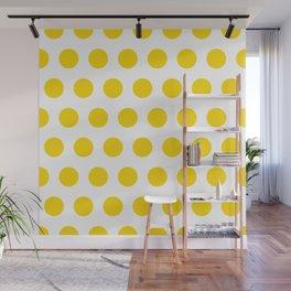 Medium Yellow Dots on White Wall Mural