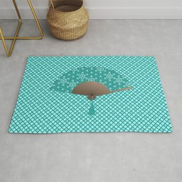 Japanese Fan in Asanoha pattern, Turquoise Rug