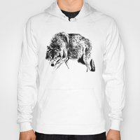 wolf Hoodies featuring Wolf by Anna Shell
