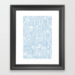 gingerbread town blue Framed Art Print