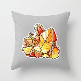 Tangerine Quartz Crystals Throw Pillow
