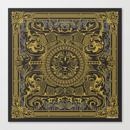 Medallion Lion Black Gold Canvas Print