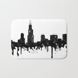 Watercolor Chicago Skyline Bath Mat